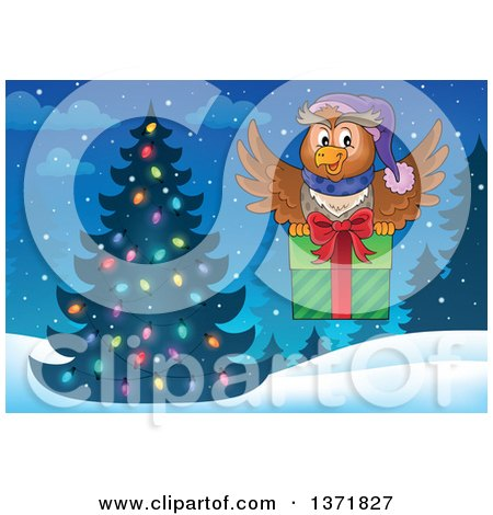 Clipart of a Cartoon Owl Flying with a Gift near a Christmas Tree - Royalty Free Vector Illustration by visekart