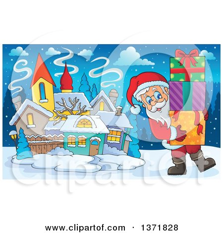 Clipart of Santa Claus Carrying Christmas Gifts in a Snowy Village - Royalty Free Vector Illustration by visekart