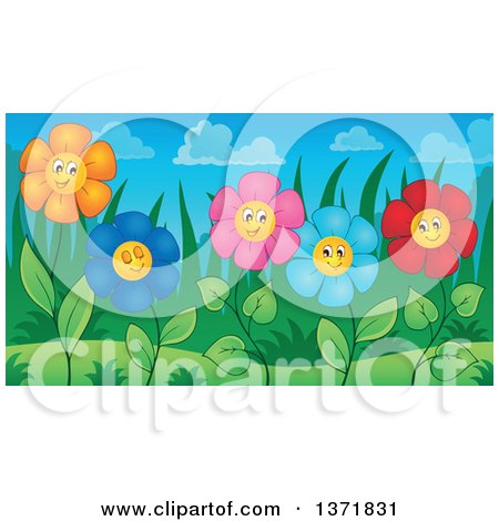 Clipart of a Garden of Happy Daisy Flowers - Royalty Free Vector Illustration by visekart