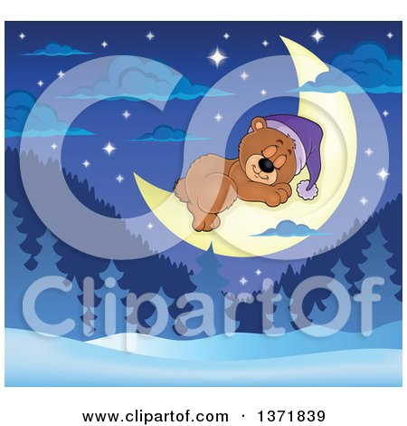 Clipart of a Cute Brown Bear Sleeping on a Crescent Moon over a Winter Landscape - Royalty Free Vector Illustration by visekart