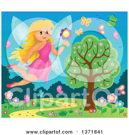 Clipart of a Happy Blond Fairy Flying With a Flower Over a Spring Landscape - Royalty Free Vector Illustration by visekart