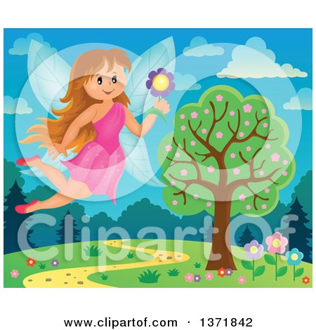 Clipart of a Happy Fairy Flying With a Flower Over a Spring Landscape - Royalty Free Vector Illustration by visekart