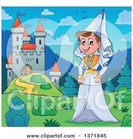 Clipart of a Cartoon Happy Medieval Princess by a Castle During the Day - Royalty Free Vector Illustration by visekart