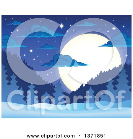 Clipart of a Nature Backdrop of a Winter Night with a Full Moon, Mountains, Stars, Evergreens and Snow - Royalty Free Vector Illustration by visekart