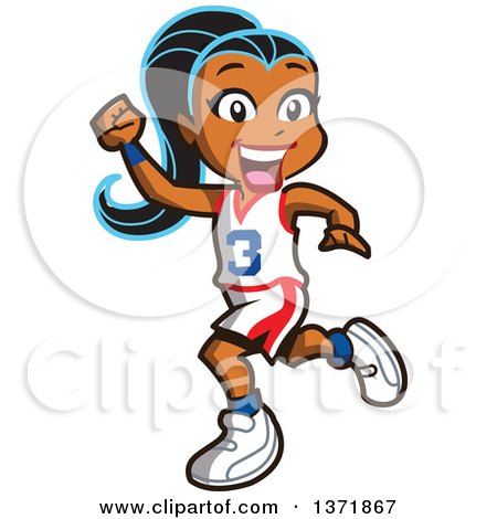 Clipart Of A Happy Black Basketball Player Girl Running and Cheering - Royalty Free Vector Illustration by Clip Art Mascots