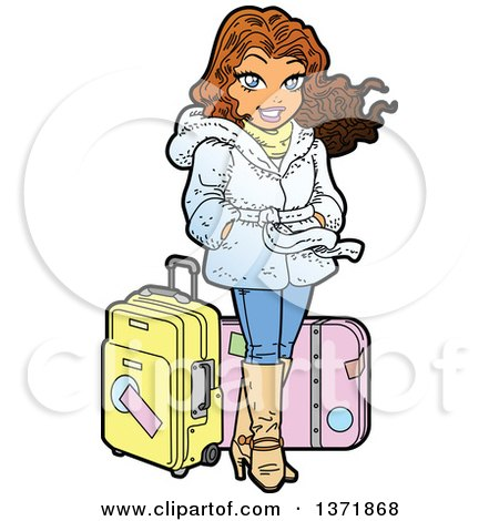 Clipart Of A Happy Jet Setter Woman Standing With Luggage - Royalty Free Vector Illustration by Clip Art Mascots