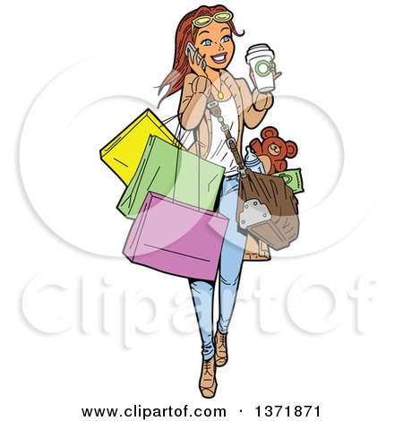 Royalty-Free (RF) Woman Shopping Clipart, Illustrations, Vector ...