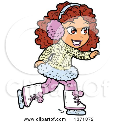 Clipart Of A Happy White Girl Ice Skating - Royalty Free Vector Illustration by Clip Art Mascots