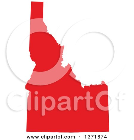 Clipart of a Republican Political Themed Red Silhouetted Shape of the State of Idaho, USA - Royalty Free Vector Illustration by Jamers