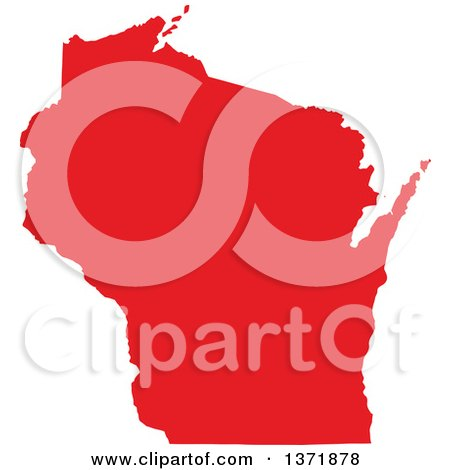 Clipart of a Republican Political Themed Red Silhouetted Shape of the State of Wisconsin, USA - Royalty Free Vector Illustration by Jamers