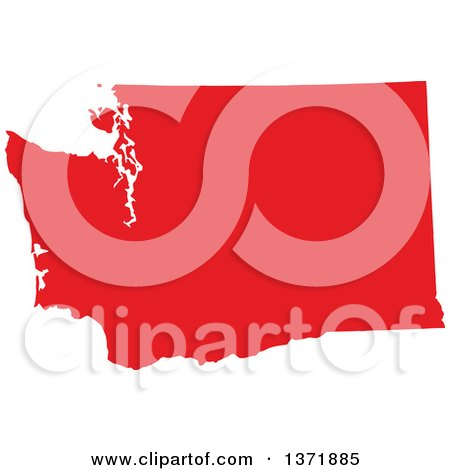 Clipart of a Republican Political Themed Red Silhouetted Shape of the State of Washington, USA - Royalty Free Vector Illustration by Jamers