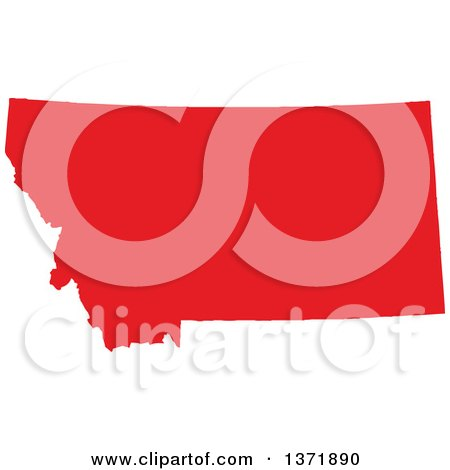 Clipart of a Republican Political Themed Red Silhouetted Shape of the State of Montana, USA - Royalty Free Vector Illustration by Jamers