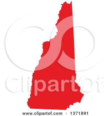 Clipart of a Republican Political Themed Red Silhouetted Shape of the State of New Hampshire, USA - Royalty Free Vector Illustration by Jamers