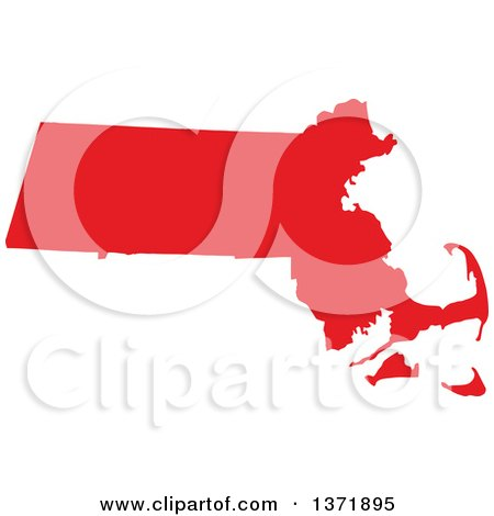Clipart of a Republican Political Themed Red Silhouetted Shape of the State of Massachusetts, USA - Royalty Free Vector Illustration by Jamers