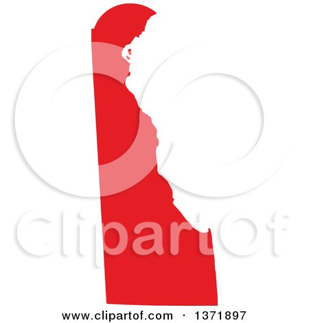 Clipart of a Republican Political Themed Red Silhouetted Shape of the State of Delaware, USA - Royalty Free Vector Illustration by Jamers