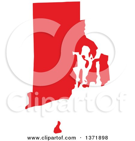 Clipart of a Republican Political Themed Red Silhouetted Shape of the State of Rhode Island, USA - Royalty Free Vector Illustration by Jamers