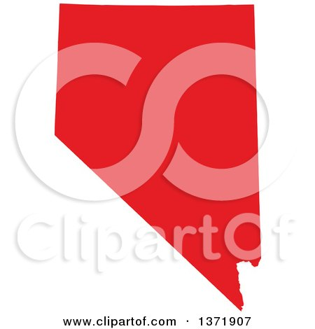Clipart of a Republican Political Themed Red Silhouetted Shape of the State of Nevada, USA - Royalty Free Vector Illustration by Jamers