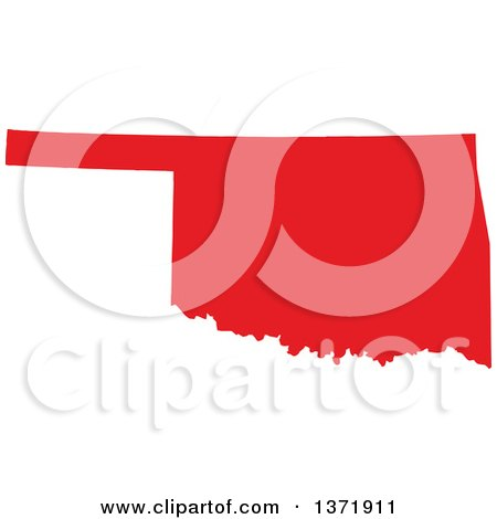 Clipart of a Republican Political Themed Red Silhouetted Shape of the State of Oklahoma, USA - Royalty Free Vector Illustration by Jamers