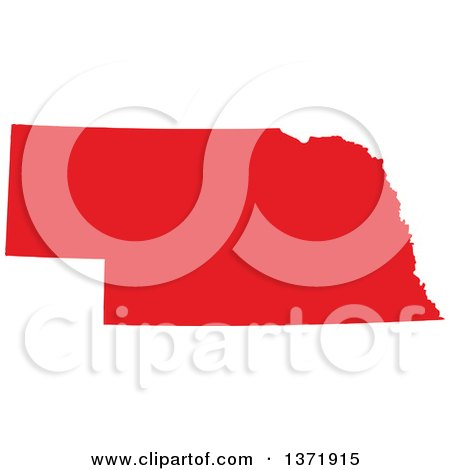 Clipart of a Republican Political Themed Red Silhouetted Shape of the State of Nebraska, USA - Royalty Free Vector Illustration by Jamers