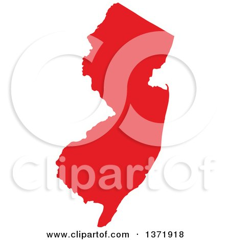 Clipart of a Republican Political Themed Red Silhouetted Shape of the State of New Jersey, USA - Royalty Free Vector Illustration by Jamers