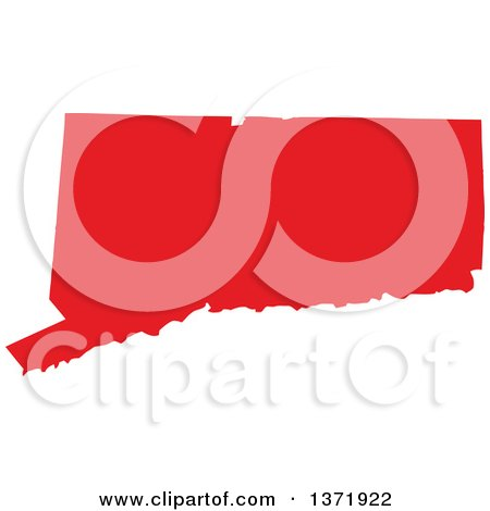 Clipart of a Republican Political Themed Red Silhouetted Shape of the State of Connecticut, USA - Royalty Free Vector Illustration by Jamers