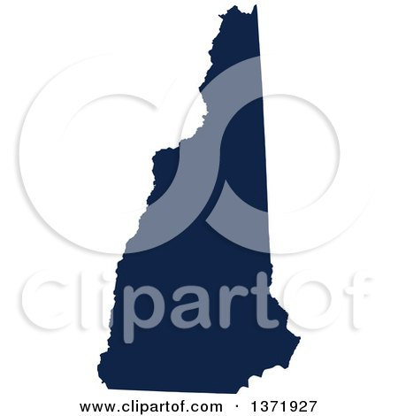 Clipart of a Democratic Political Themed Navy Blue Silhouetted Shape of the State of New Hampshire, USA - Royalty Free Vector Illustration by Jamers