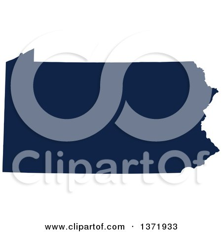 Clipart of a Democratic Political Themed Navy Blue Silhouetted Shape of the State of Pennsylvania, USA - Royalty Free Vector Illustration by Jamers