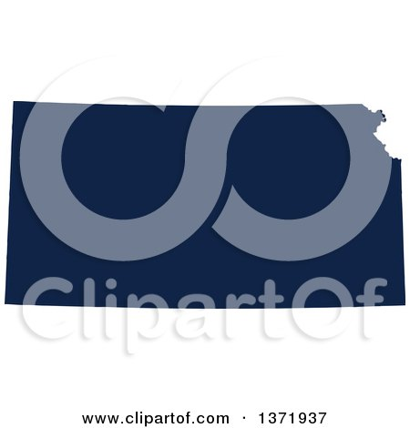 Clipart of a Democratic Political Themed Navy Blue Silhouetted Shape of the State of Kansas, USA - Royalty Free Vector Illustration by Jamers