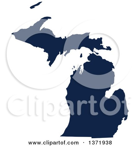 Clipart of a Democratic Political Themed Navy Blue Silhouetted Shape of the State of Michigan, USA - Royalty Free Vector Illustration by Jamers