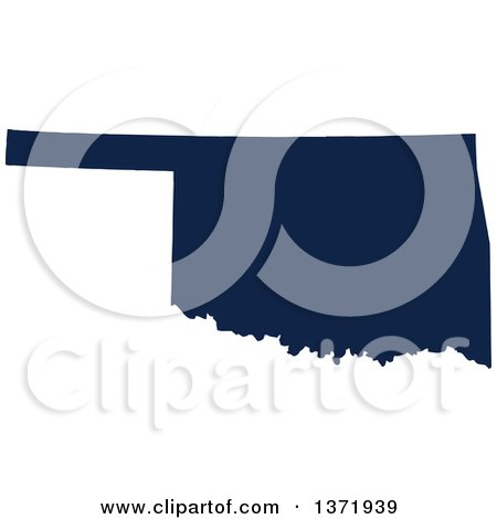 Clipart of a Democratic Political Themed Navy Blue Silhouetted Shape of the State of Oklahoma, USA - Royalty Free Vector Illustration by Jamers