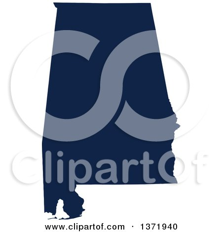 Clipart of a Democratic Political Themed Navy Blue Silhouetted Shape of the State of Alabama, USA - Royalty Free Vector Illustration by Jamers
