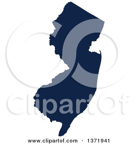 Clipart of a Democratic Political Themed Navy Blue Silhouetted Shape of the State of New Jersey, USA - Royalty Free Vector Illustration by Jamers