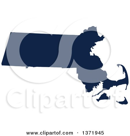 Clipart of a Democratic Political Themed Navy Blue Silhouetted Shape of the State of Massachusetts, USA - Royalty Free Vector Illustration by Jamers