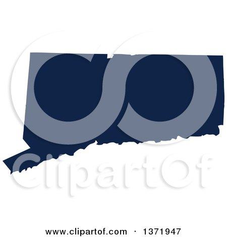 Clipart of a Democratic Political Themed Navy Blue Silhouetted Shape of the State of Connecticut, USA - Royalty Free Vector Illustration by Jamers