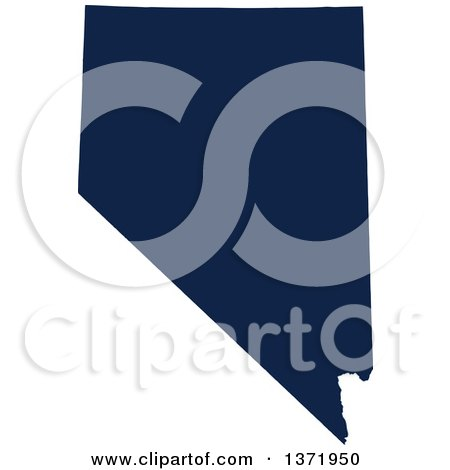 Clipart of a Democratic Political Themed Navy Blue Silhouetted Shape of the State of Nevada, USA - Royalty Free Vector Illustration by Jamers