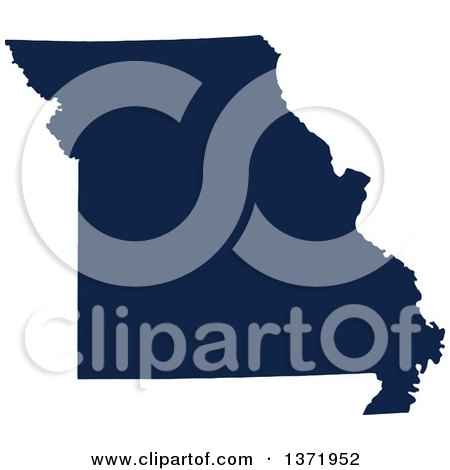 Clipart of a Democratic Political Themed Navy Blue Silhouetted Shape of the State of Missouri, USA - Royalty Free Vector Illustration by Jamers