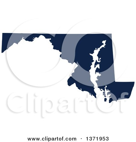 Clipart of a Democratic Political Themed Navy Blue Silhouetted Shape of the State of Maryland, USA - Royalty Free Vector Illustration by Jamers