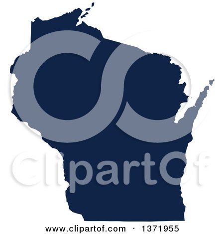Clipart of a Democratic Political Themed Navy Blue Silhouetted Shape of the State of Wisconsin, USA - Royalty Free Vector Illustration by Jamers