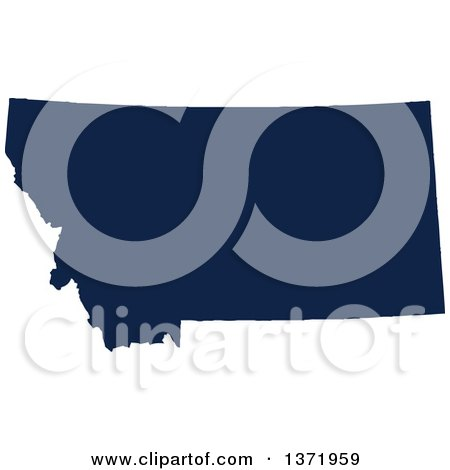 Clipart of a Democratic Political Themed Navy Blue Silhouetted Shape of the State of Montana, USA - Royalty Free Vector Illustration by Jamers