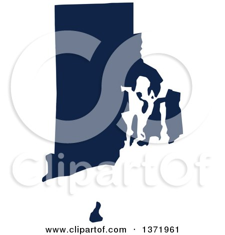 Clipart of a Democratic Political Themed Navy Blue Silhouetted Shape of the State of Rhode Island, USA - Royalty Free Vector Illustration by Jamers
