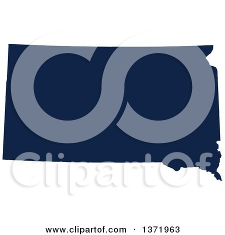 Clipart of a Democratic Political Themed Navy Blue Silhouetted Shape of the State of South Dakota, USA - Royalty Free Vector Illustration by Jamers