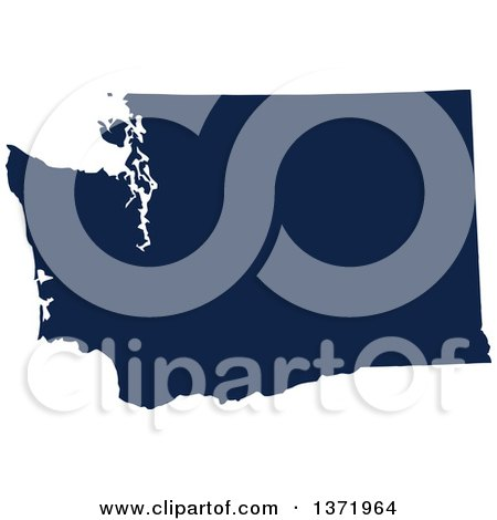 Clipart of a Democratic Political Themed Navy Blue Silhouetted Shape of the State of Washington, USA - Royalty Free Vector Illustration by Jamers