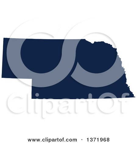 Clipart of a Democratic Political Themed Navy Blue Silhouetted Shape of the State of Nebraska, USA - Royalty Free Vector Illustration by Jamers
