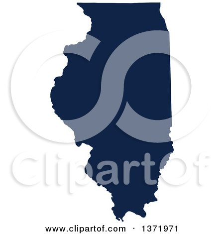 Clipart of a Democratic Political Themed Navy Blue Silhouetted Shape of the State of Illinois, USA - Royalty Free Vector Illustration by Jamers
