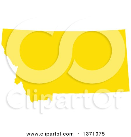 Clipart of a Yellow Silhouetted Map Shape of the State of Montana, United States - Royalty Free Vector Illustration by Jamers