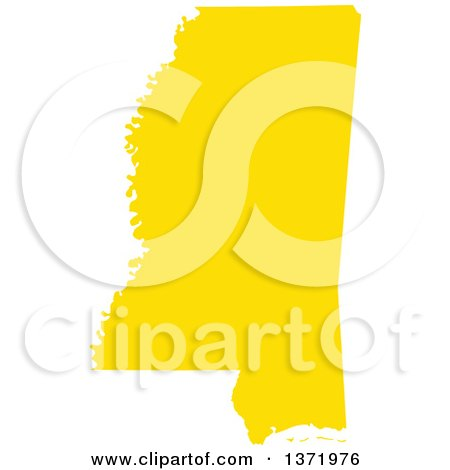 Clipart of a Yellow Silhouetted Map Shape of the State of Mississippi, United States - Royalty Free Vector Illustration by Jamers