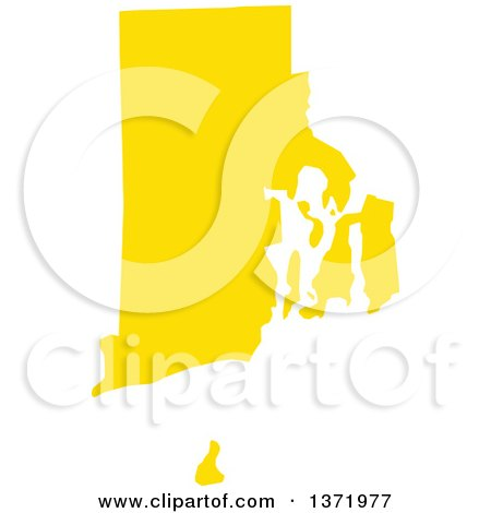 Yellow Silhouetted Map Shape Of The State Of Rhode Island United States