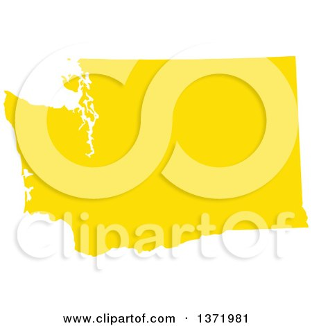 Clipart of a Yellow Silhouetted Map Shape of the State of Washington, United States - Royalty Free Vector Illustration by Jamers