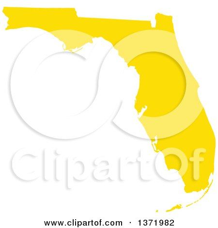 Clipart of a Yellow Silhouetted Map Shape of the State of Florida, United States - Royalty Free Vector Illustration by Jamers