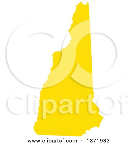 Clipart of a Yellow Silhouetted Map Shape of the State of New Hampshire, United States - Royalty Free Vector Illustration by Jamers